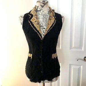 Vintage Lace Crochet Top Blouse Fit Flare buttons